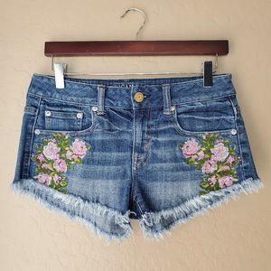 American Eagle Floral Embroidered Cutoff Shorts